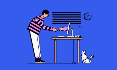 Illustration of a hand reaching of a computer screen to shake a man's hand.