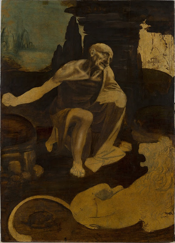 Leonardo da Vinci, <i>St . Jerome Praying in the Wilderness</i> (circa 1483). Vatican City, Musei Vaticani. Photo © Governatorate of the Vatican City State - Vatican Museums.