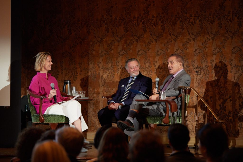 Jessica Morgan, director of the Dia Art Foundation, in conversation with collectors Jarl Mohn and Leonard Riggio at the Center for the History of Collecting