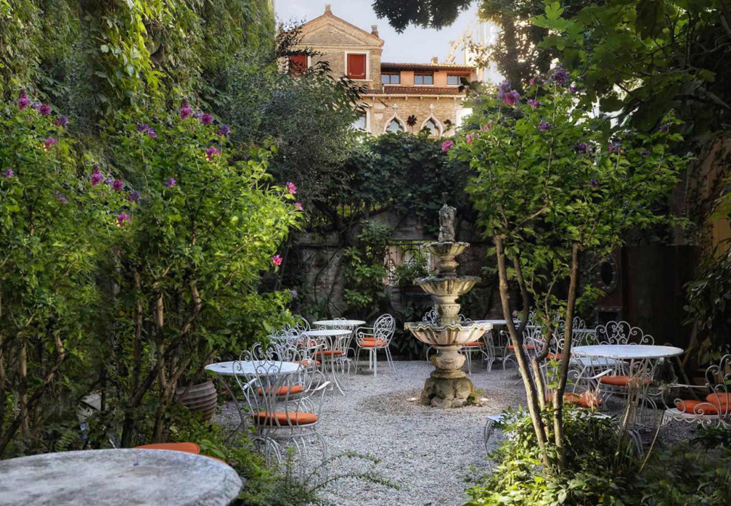 The garden at Hotel Flora in Venice. Courtesy of Hotel Flora.