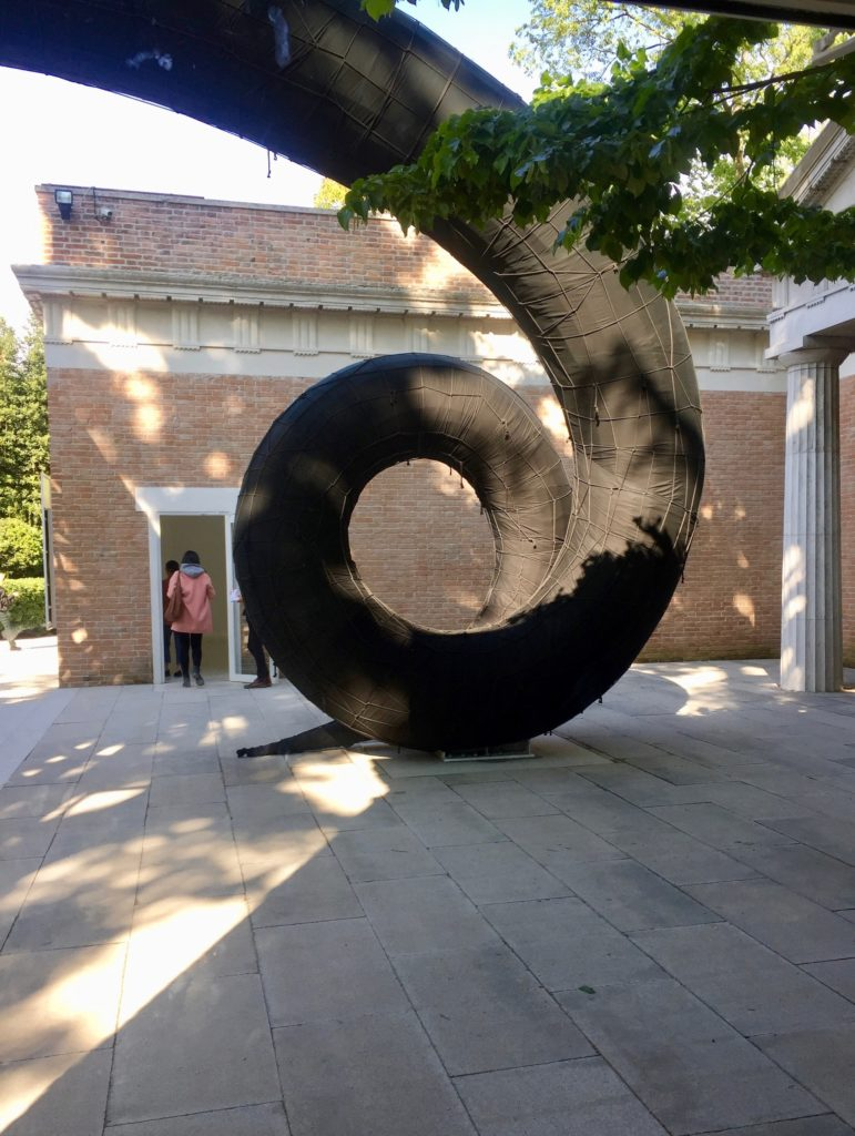 Martin Puryear's Swallowed Sun (Monstrance and Volute) (2019) at the US Pavilion in Venice, 2019. Image courtesy Ben Davis.