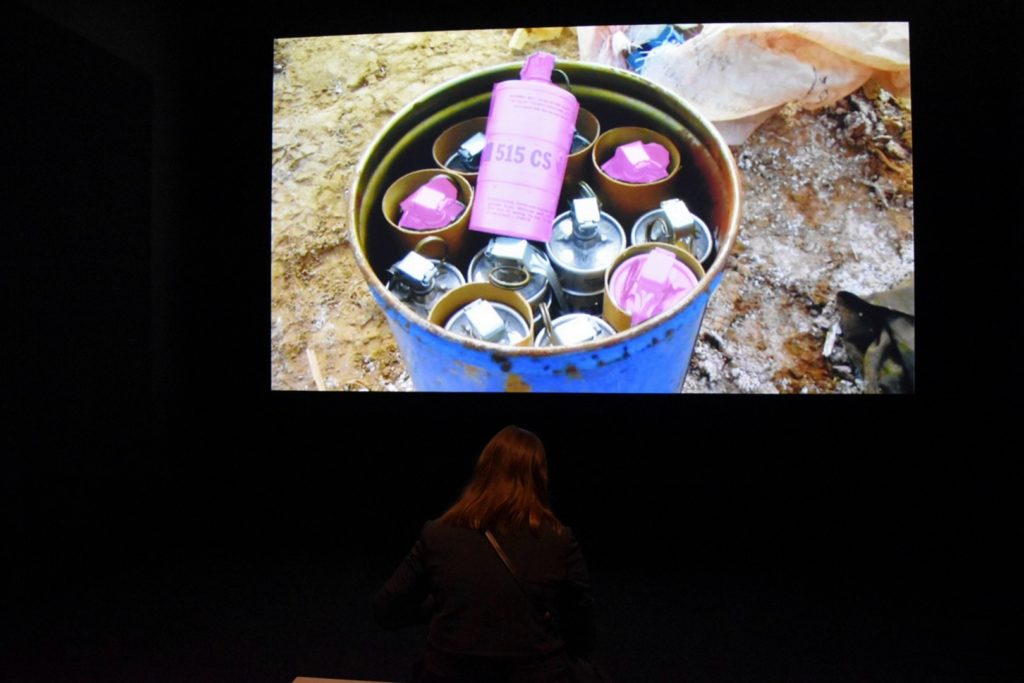 Forensic Architecture's video project <i>Triple Chaser</i> at the Whitney Biennial. Photo by Eileen Kinsella