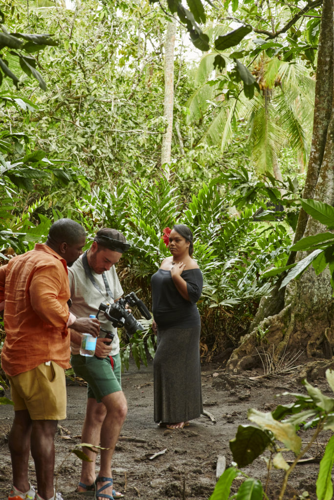 Kehinde Wiley on location filming in Tahiti. Courtesy Templon, Paris & Brussels, © 2018 Kehinde Wiley.