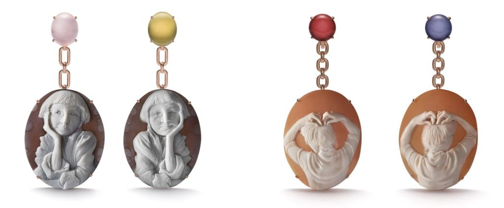 <em>Pensive</em> earrings by Cindy Sherman and <em>Mary</em> earrings by Catherine Opie for the new LIZWORK Cameo line. Photo courtesy of LIZWORKS.