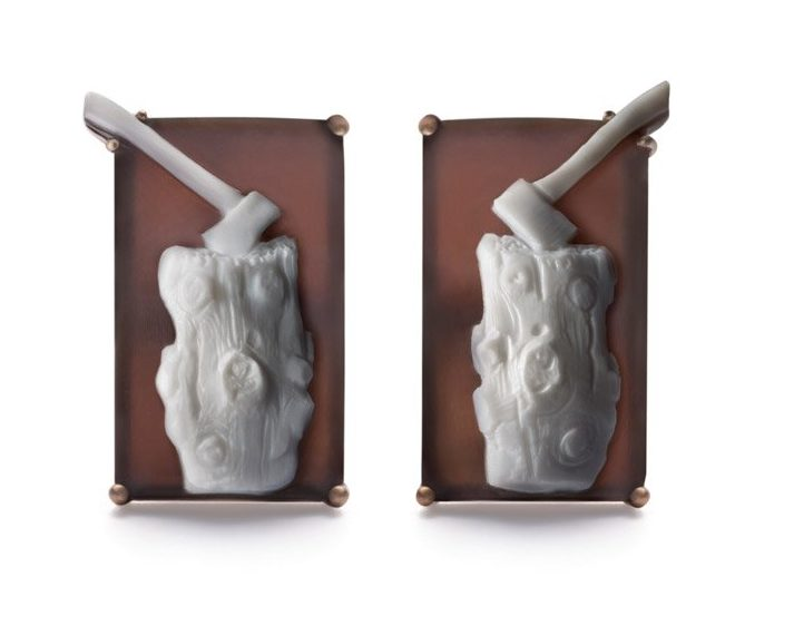 <em>Munch's Logs</em> cufflinks by Catherine Opie for the new LIZWORK Cameo line. Photo courtesy of LIZWORKS.