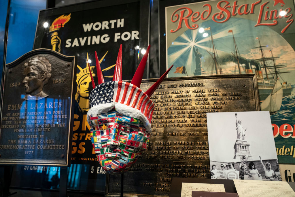 Cultural items relating to the Statue of Liberty. Photo by Drew Angerer/Getty Images.