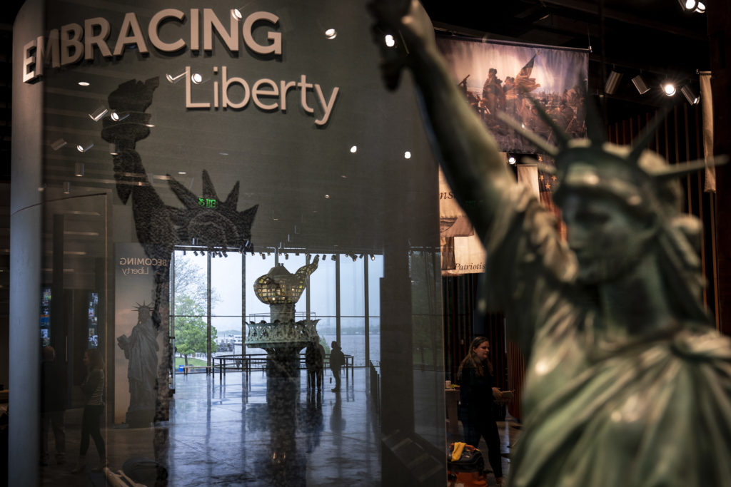 A view inside the new Statue of Liberty Museum, on Liberty Island in New York City. Photo by Drew Angerer/Getty Images.