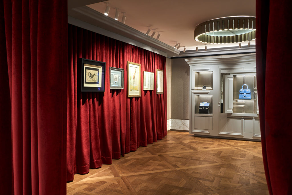 Magritte artworks displayed at the upper level of Delvaux's New York flagship store. Image courtesy Delvaux.