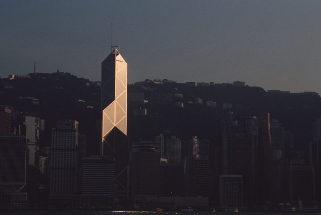 The Bank of China Tower in Central Hong Kong. The 70 story building was designed by I.M. Pei. (Photo by Gerhard Joren/LightRocket via Getty Images)