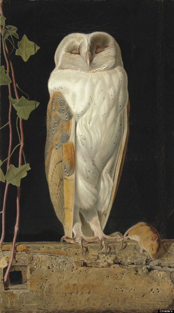 William James Webbe, The White Owl, 'Alone and warming his five wits, The white owl in the belfry sits'(1856). Courtesy of Christie's Auction House.