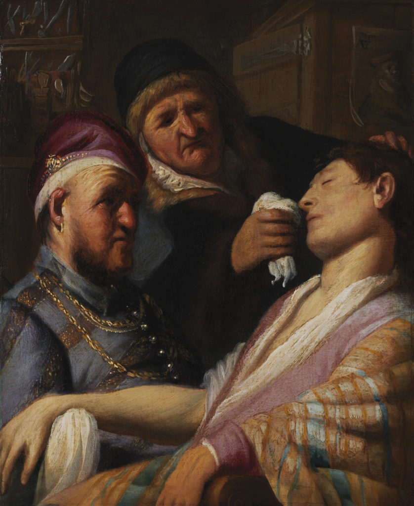 The Unconscious Patient (An Allegory of the Sense of Smell), about 1624, Rembrandt Harmensz. van Rijn (Dutch, 1606–1669) Oil on Panel. Image Courtesy of the Leiden Collection, New York.
