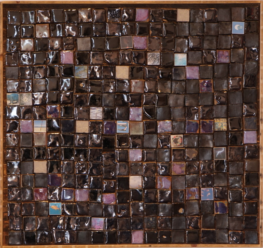 Maddy Parrasch <i>Untitled</i> (2018), ceramic tiles on wood. Photo courtesy of Safe Gallery.