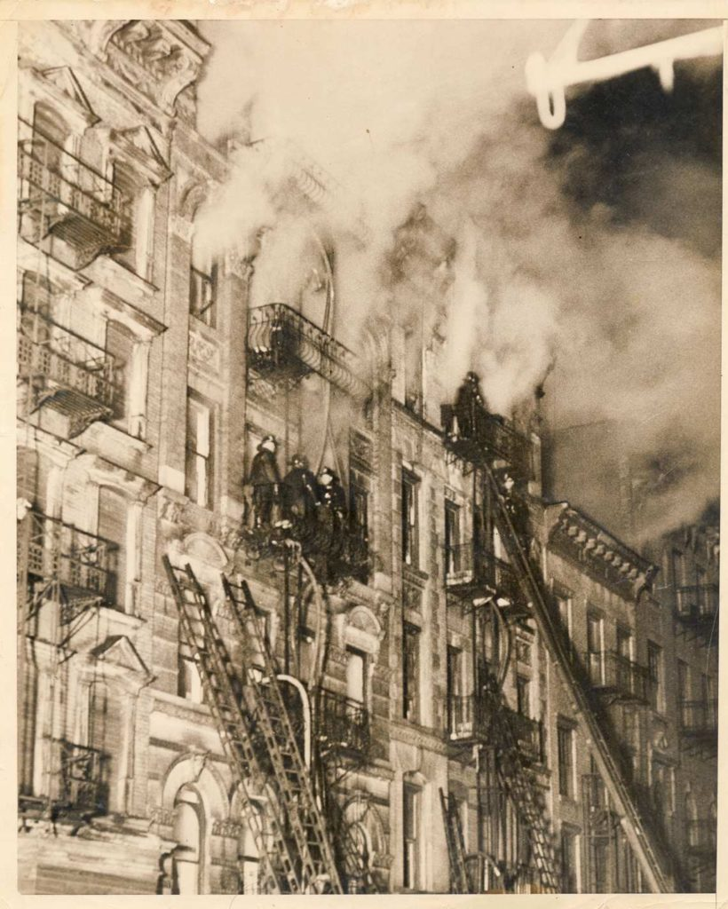 A newly discovered Weegee photograph of a late-night tenement fire at 139 Suffolk Street on March 4, 1937, that killed three. ©Weegee/International Center of Photography, New York.