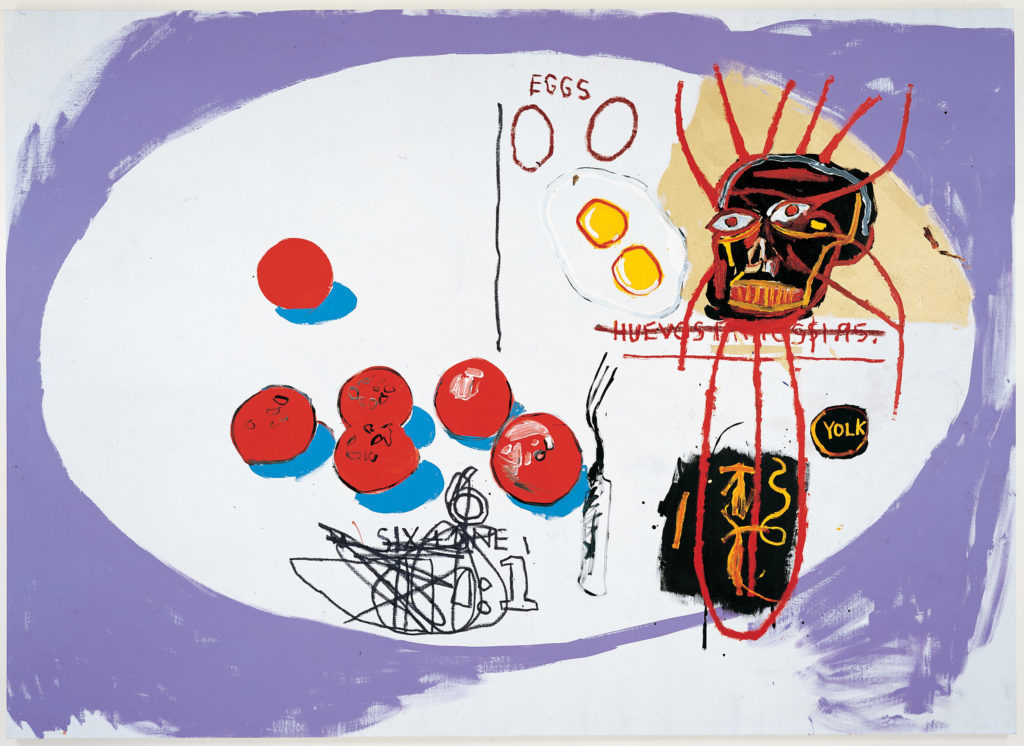 Jean-Michel Basquiat and Andy Warhol, <em>Eggs</em> (1985). ©2019 The Andy Warhol Foundation for the Visual Arts, Inc./the Estate of Jean-Michel Basquiat/licensed by Artists Rights Society (ARS), New York/ADAGP, Paris.