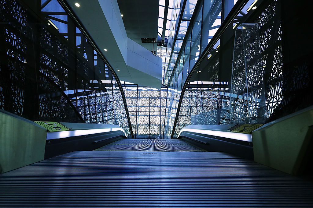 Steel and glass create patterns and reflections inside. Courtesy of Getty Images.