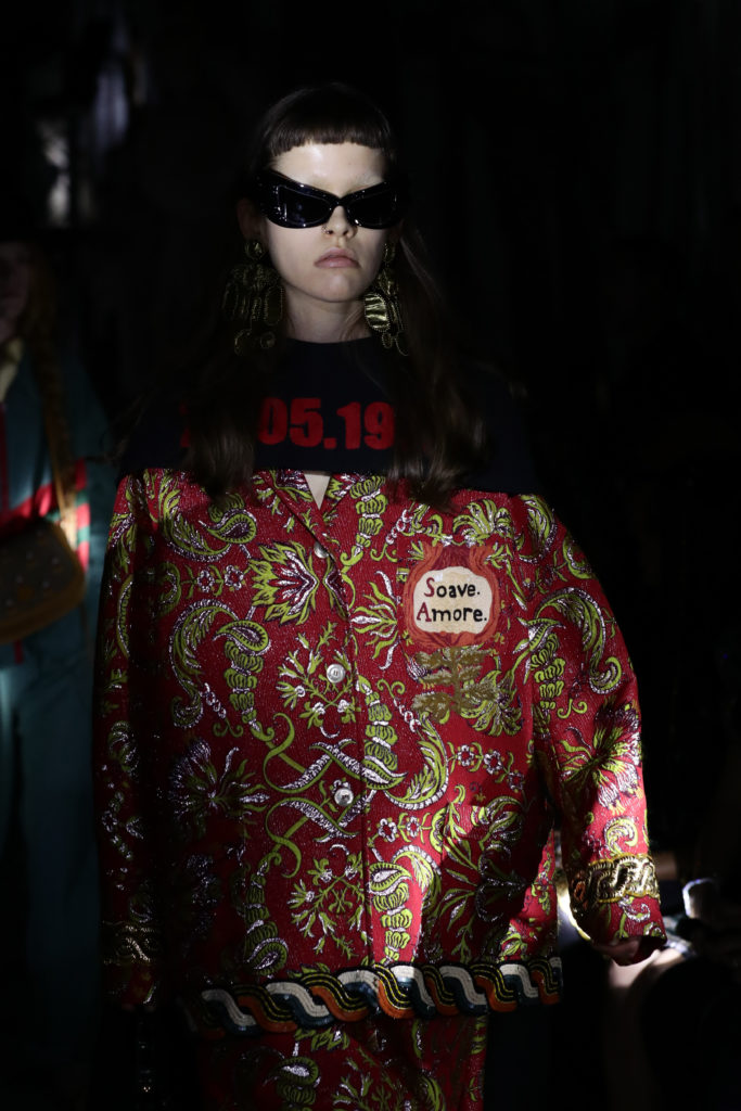 A capelet emblazoned with the date on which abortion became legally protected in Italy. Photo by Vittorio Zunino Celotto/Getty Images for Gucci.