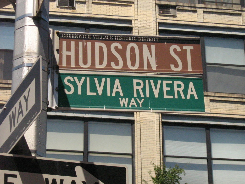 Street sign in New York City's Greenwich Village, named in honor of Sylvia Rivera. Image courtesy Wikimedia Commons.