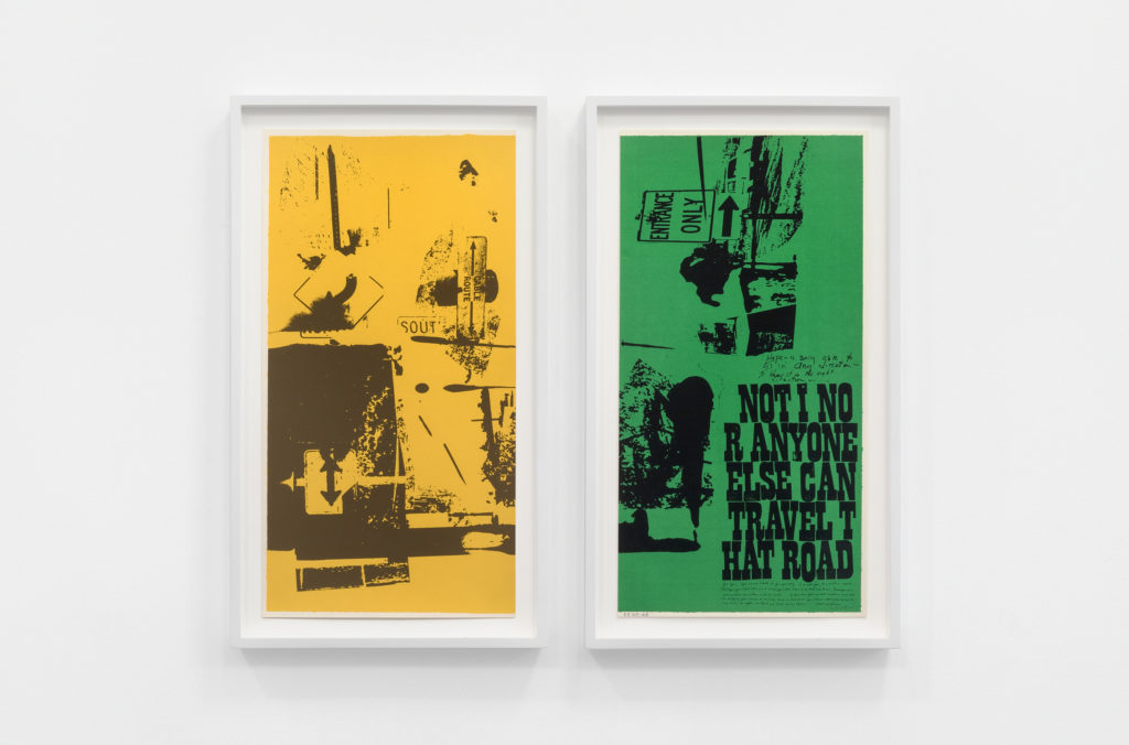 Corita Kent, road signs (part 1 and 2), 1969. Photo by Dawn Blackman, courtesy of the Corita Art Center, Los Angeles and Andrew Kreps Gallery, New York.