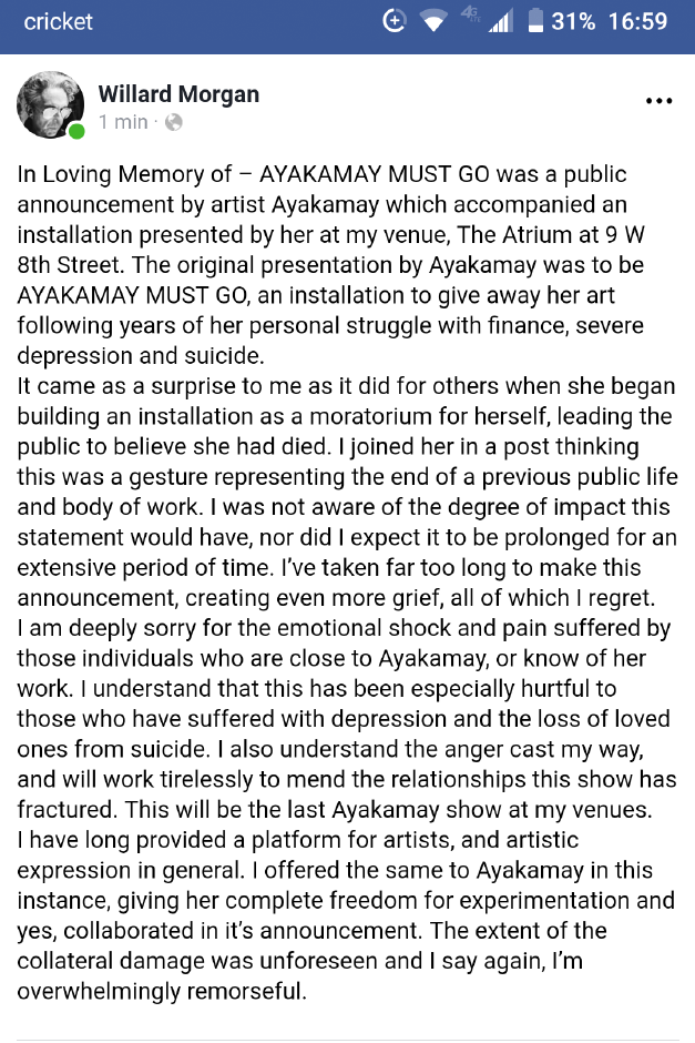 A statement by Willard Morgan made on Facebook implying that Ayakamay had not died.