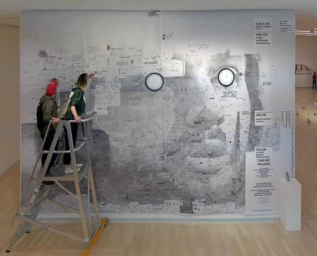 Janos Bruckner, Here and Now (2019) nearing completion at the Ludwig Museum in Budapest. Image copyright the artist.