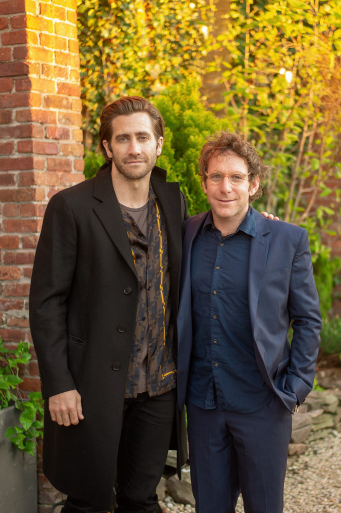 Jake Gyllenhaal and Dustin Yellin at the Pioneer Works Village Fete. Photo courtesy of BFA.