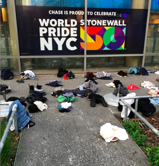 The participants clothes left before the photo shoot. Photo: Caroline Goldstein.