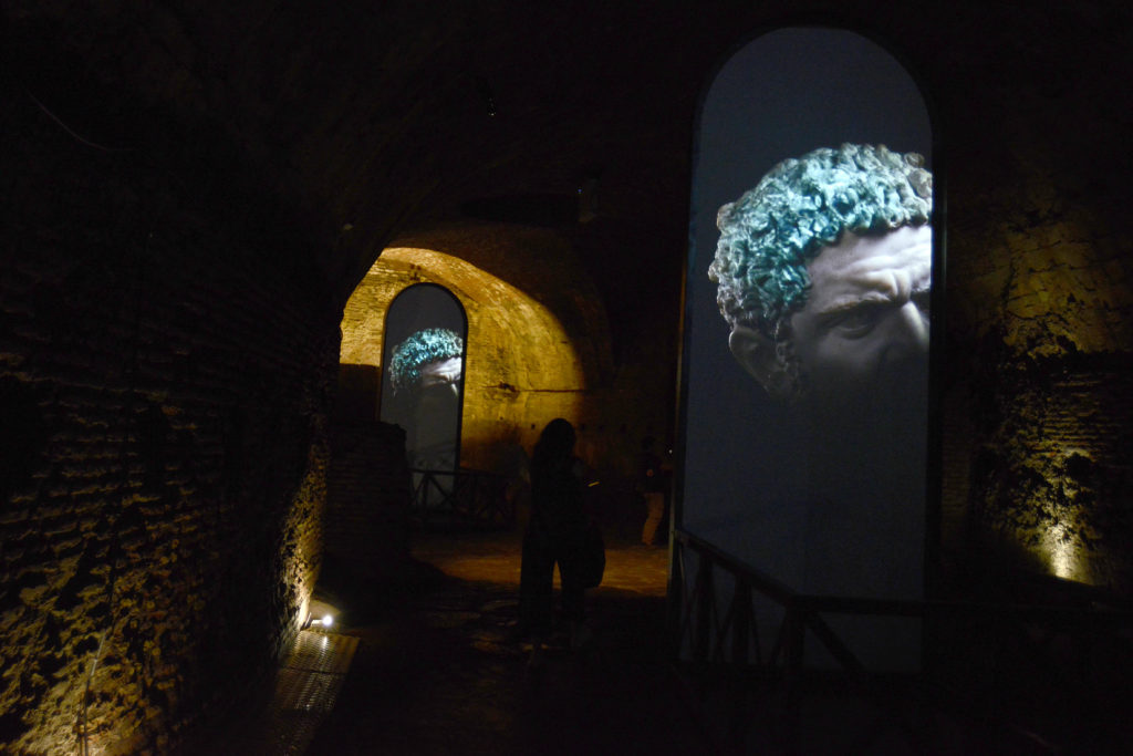 "Installation view of Fabrizio Plessi's ""Plessi at Caracalla: The Secret of Time"" at the Baths of Caracalla. Photo by Simona Granati, courtesy of Corbis/Getty Images."