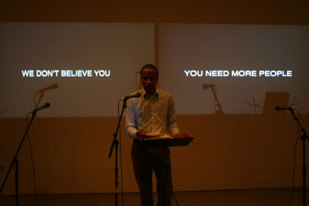 Jibade-Khalil Huffman, <i>We Don't Believe You, You Need More People</i> (2011-2012), performance. Courtesy of the artist.