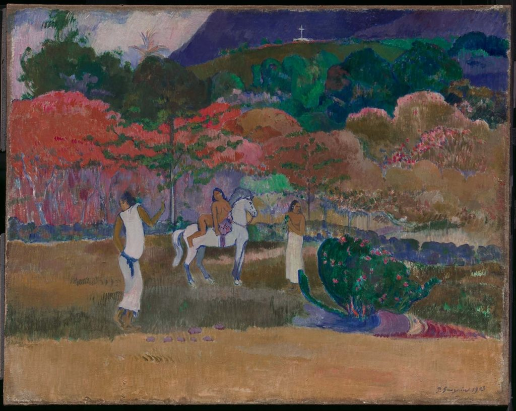 Paul Gaugin, <i>Women with White Horse</i> (1903). Courtesy of the Museum of Fine Arts Boston.