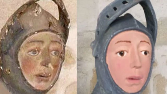 Before and after a misguided restoration on the statue of St. George at Navarre, Spain