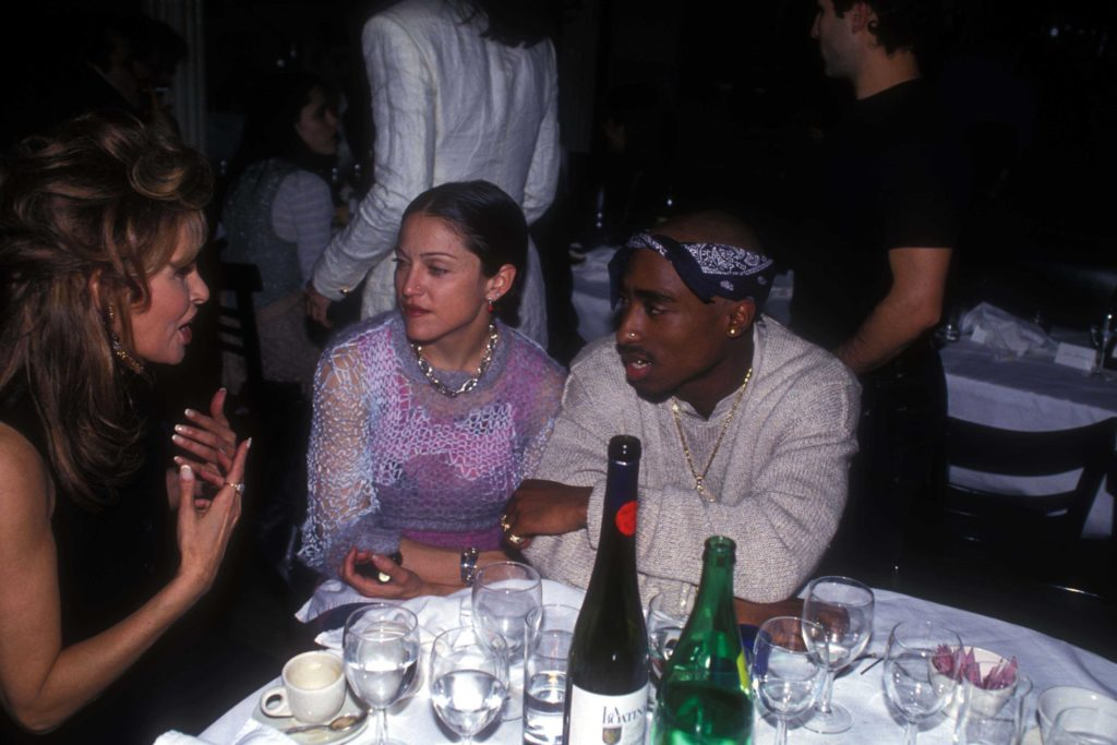 Raquel Welch, Madonna, and Tupac Shakur at the Interview Magazine party in March 1, 1994 in New York City. Photo by Patrick McMullan/Patrick McMullan via Getty Images.