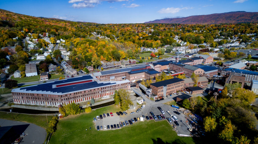 Aerial view of the Massachusetts Museum of Contemporary Art from drone. Photo courtesy of MASS MoCA.