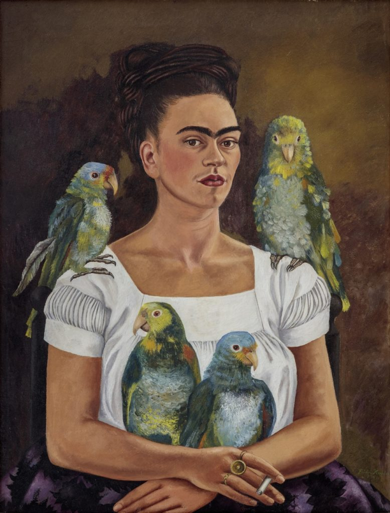 Frida Kahlo, Me and My Parrots (1941) © 2019 Banco de México Diego Rivera Frida Kahlo Museums Trust, Mexico, D.F. / Artists Rights Society (ARS), New York.
