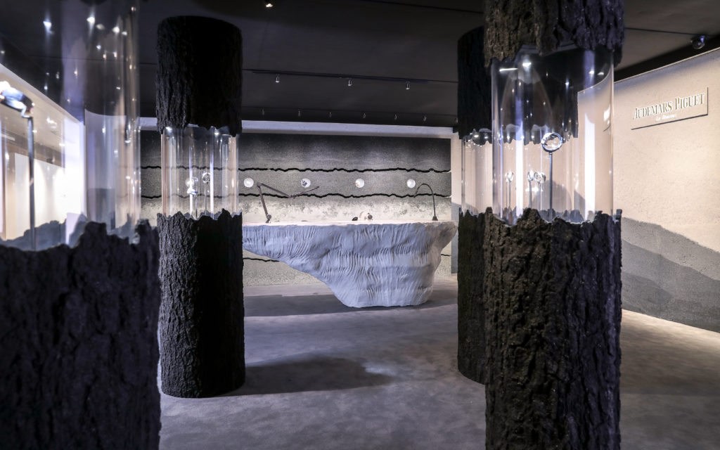 "A view through the ""spruce tree forest"" of glass pillars. Image courtesy Audemars Piguet."
