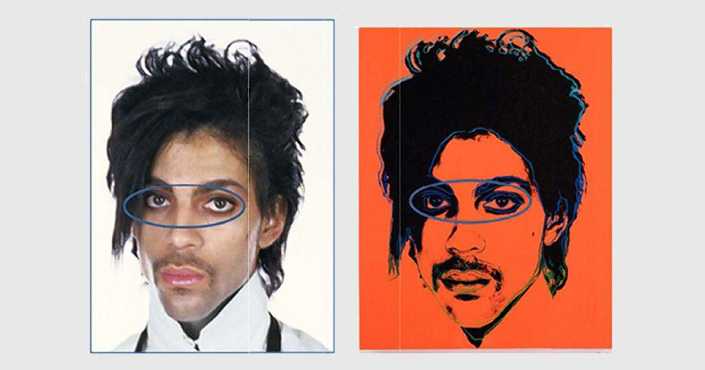 The original Lynn Goldsmith photograph and Andy Warhol's Prince portrait of the musician, as reproduced in court documents.