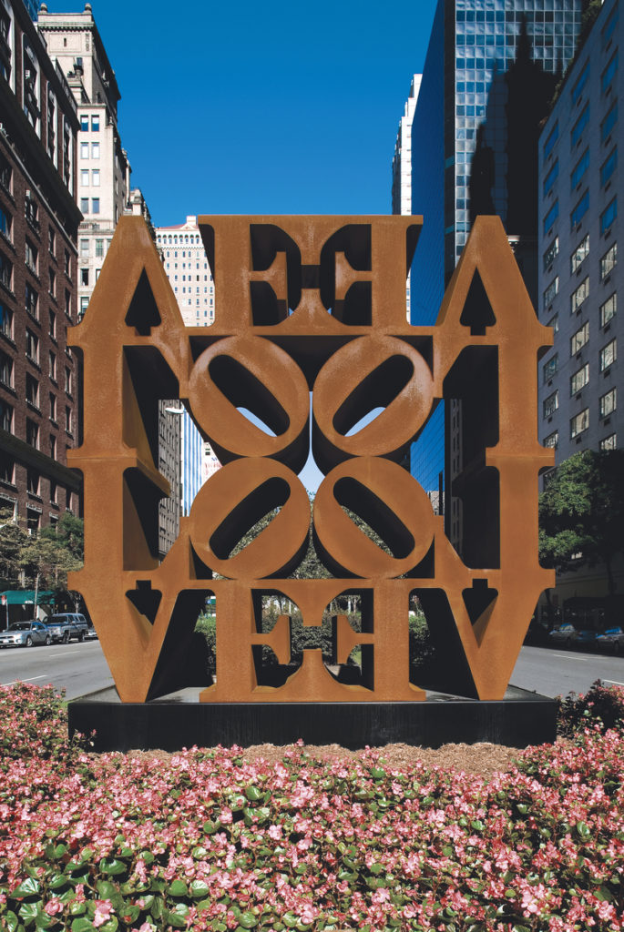 Robert Indiana, LOVE WALL (1966–2006). Installation view, Park Avenue and 57th Street, New York, Spring, 2008. Photo courtesy of Christopher Burke Studio. Artwork ©2017 Morgan Art Foundation/Artists Rights Society (ARS), New York.