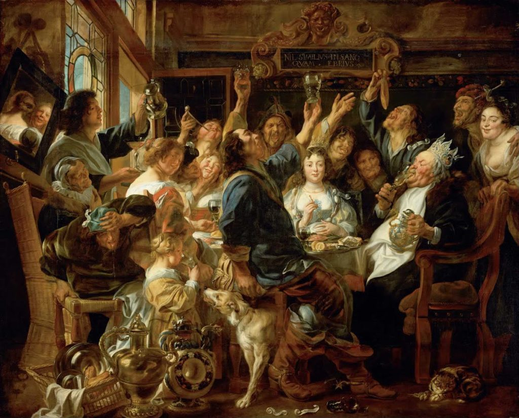 Jacob Jordaens, The Feast of the Bean King, (1640-1645). Courtesy of The Kunsthistorisches Museum.