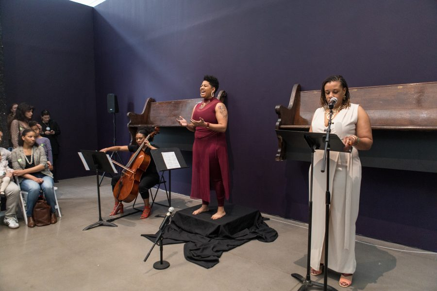 "<em>At Council; Found Peace</em> collaborative performance as part of Queens Museum Jerome Foundation Emerging Artist Fellow Alexandria Smith's ""Monuments to an Effigy,"" featuring Liz Gré, Maurisa Mansaray, and Smith. Photo courtesy of the Queens Museum."