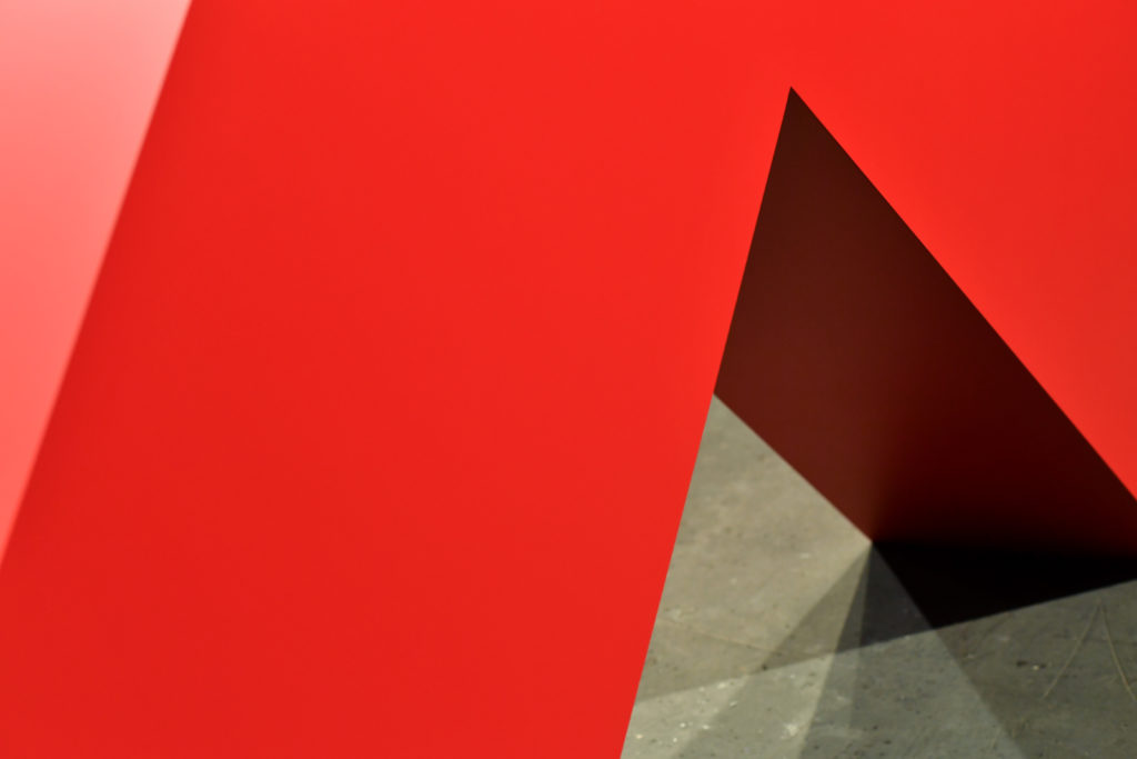 "Carmen Herrera ""Angulo Rojo"" at Art Basel. Photo by Harold Cunningham/Getty Images."