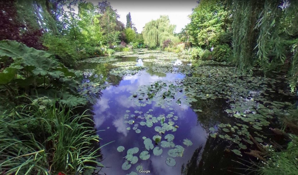 View of the lily pond at Giverny, as seen on Google Street View.