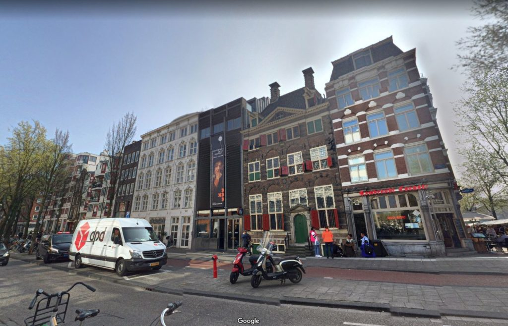 Rembrandt's house and workshop in Amsterdam, as seen in Google Street View.