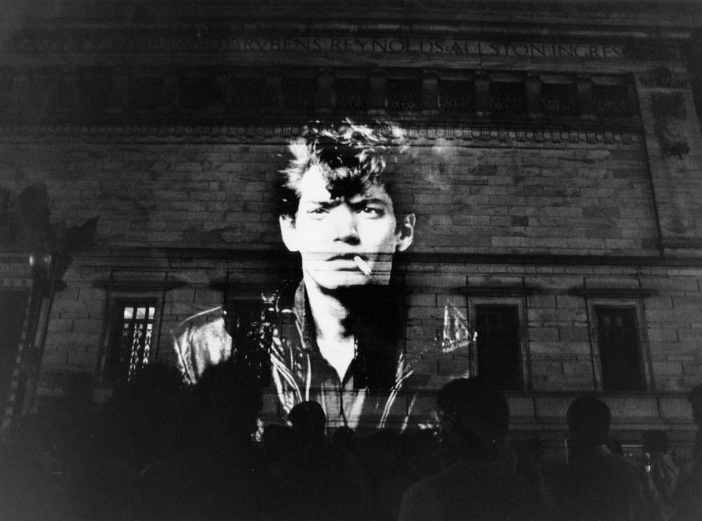 Robert Mapplethorpe's self-portrait during a protest at the Corcoran Gallery of Art in 1989 (Photo by Carol Guzy/The Washington Post via Getty Images)