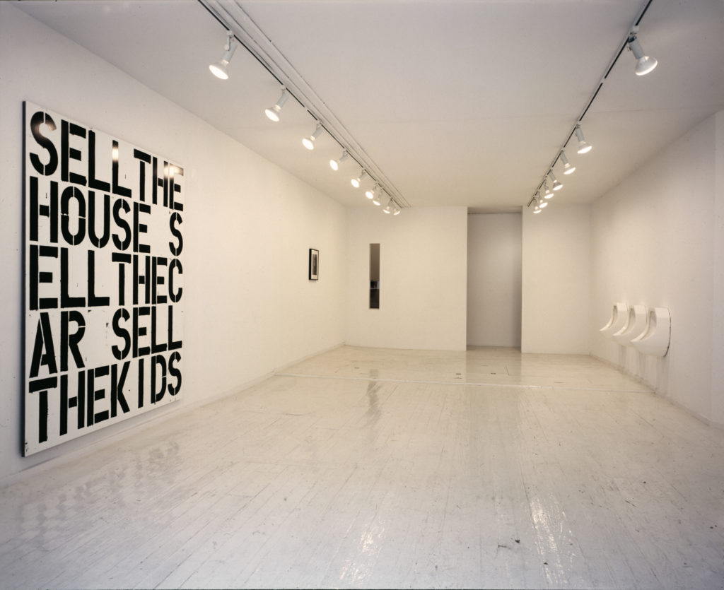 """Installation view, """"A Project: Robert Gober Christopher Wool,"""" 303 Gallery, 1988. Courtesy of 303 Gallery, New York."""