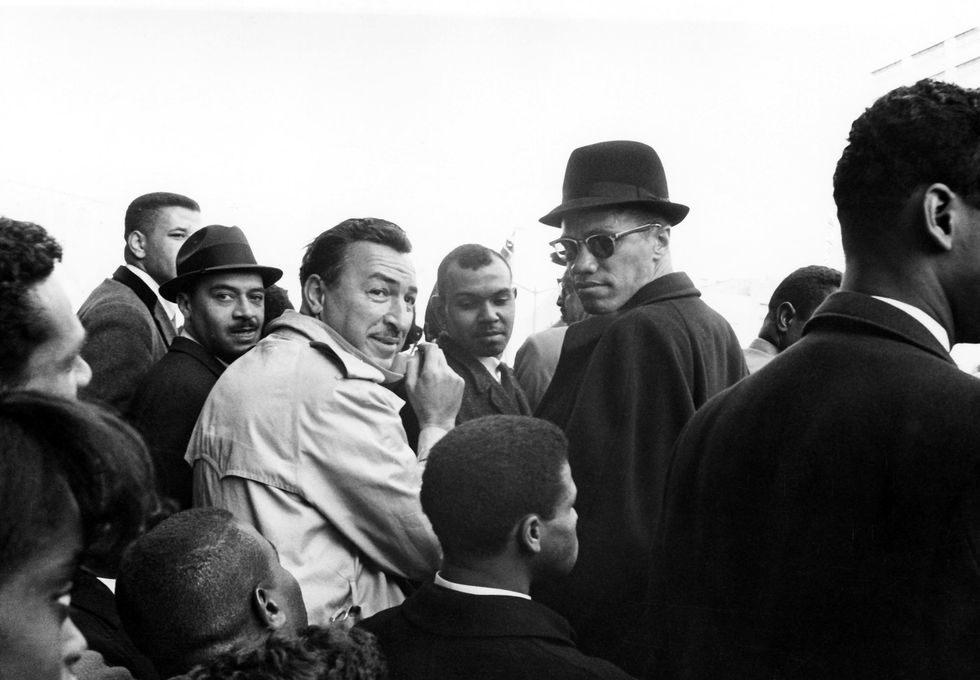 G. Marshall Wilson, Adam Clayton Powell and Malcolm X attend the New York City school boycott rally in March 1964. Photo courtesy of Johnson Publishing Company.
