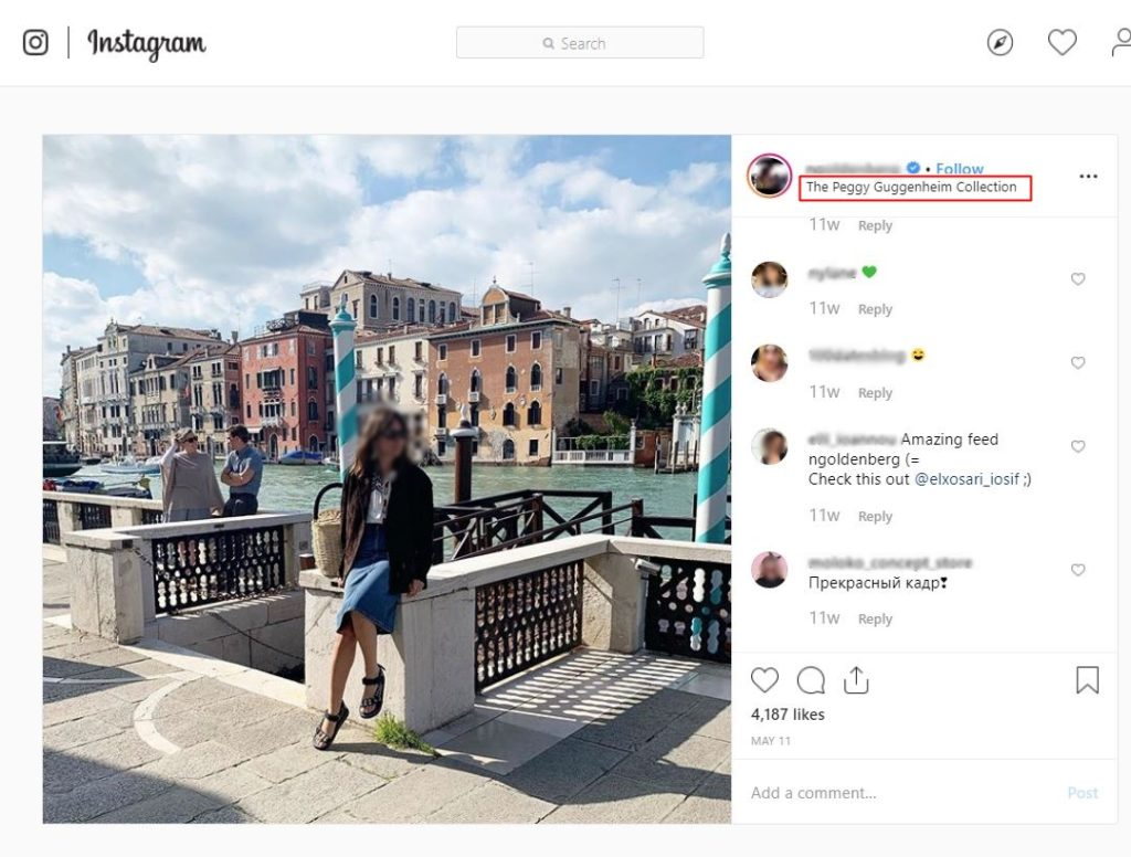 Screenshot of an Instagram post, geotagged with the Peggy Guggenheim Collection in Venice.