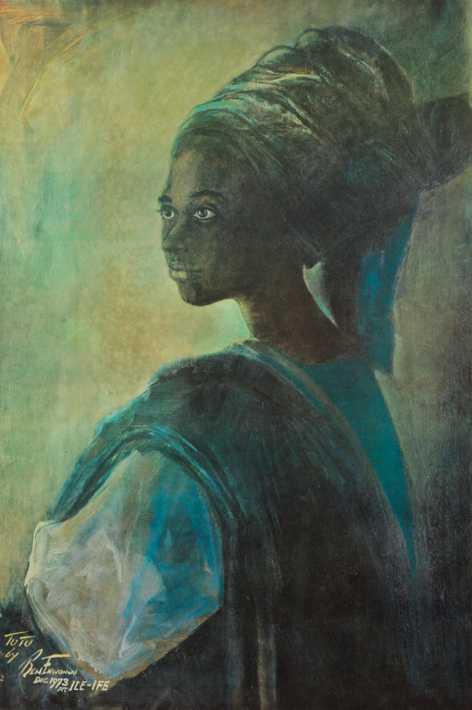 Ben Enwonwu, Tutu (1973). The first of three Tutu paintings was stolen in 1994 and its whereabouts remain unknown. Courtesy of Bonhams London.