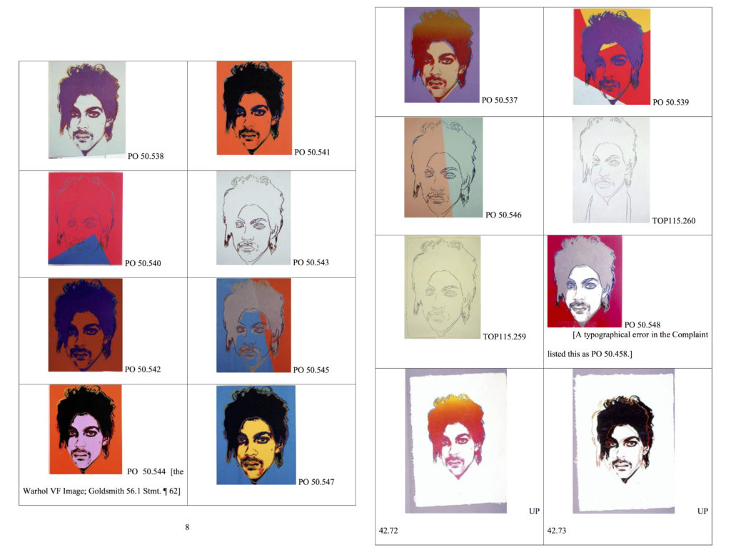 Andy Warhol's 'Prince Series,' as reproduced in court documents.