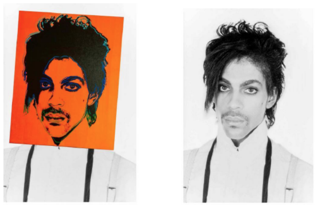 Andy Warhol's Prince portrait overlaid on top of the original Lynn Goldsmith photograph of the musician, as reproduced in court documents.