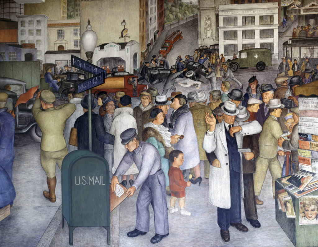 Detail of <i>City Life</i> (1934) by Victor Arnautoff Located in the Coit Tower in San Francisco. Photo: VCG Wilson/Corbis via Getty Images.