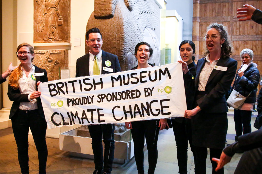 Activists protesting BP at the British Museum in London, February 2019. Photo: Dinendra Haria/SOPA Images/LightRocket via Getty Images.